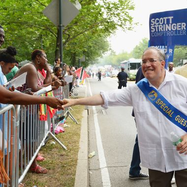 NEW YORK, NY - SEPTEMBER 02:  Comptroller candidate/Manhattan borough president Scott Stringer campaigns at the West Indian Day Parade on September 2, 2013 in the Brooklyn borough of New York City. Over a million people are expected to attend the 46th annual parade.  (Photo by Michael Loccisano/Getty Images)