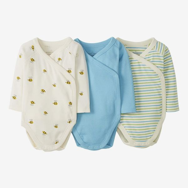 Moon and Back by Hanna Andersson Baby Boys and Girls 3-Pack Long Sleeve Side Snap Bodysuit