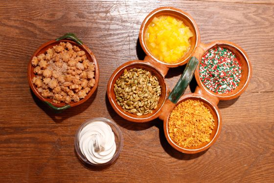The toppings spread, with a single shot of horchata soft-serve.
