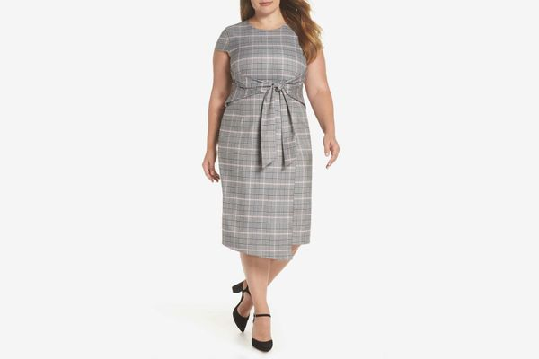 1901 Plaid Cinched Waist Midi Dress