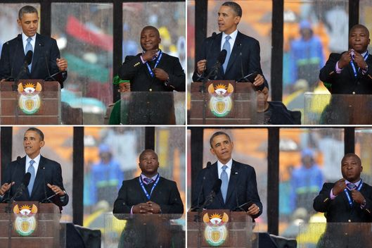 In these combination of pictures taken on December 10, 2013 US President Barack Obama delivers a speech next to sign language interpreter Thamsanqa Jantjie (R) during the memorial service for late South African President Nelson Mandela at Soccer City Stadium in Johannesburg. South Africa's deaf community on December 11, 2013 accused the sign language interpreter at Nelson Mandela's memorial of being a fake, who had merely flapped his arms around during speeches. Mandela, the revered icon of the anti-apartheid struggle in South Africa and one of the towering political figures of the 20th century, died in Johannesburg on December 5 at age 95.