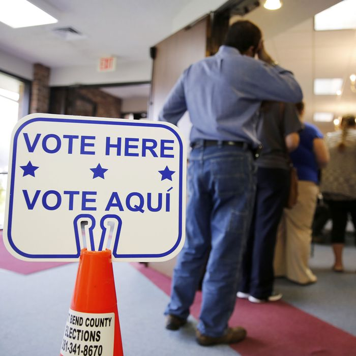 Voting lines in Texas.