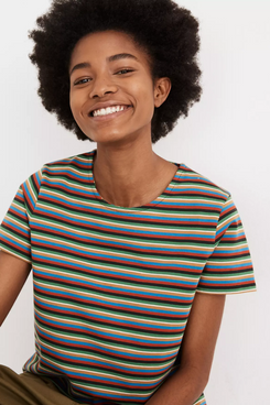 Madewell Luxe Boxy-Crop Tee in Mathis Stripe