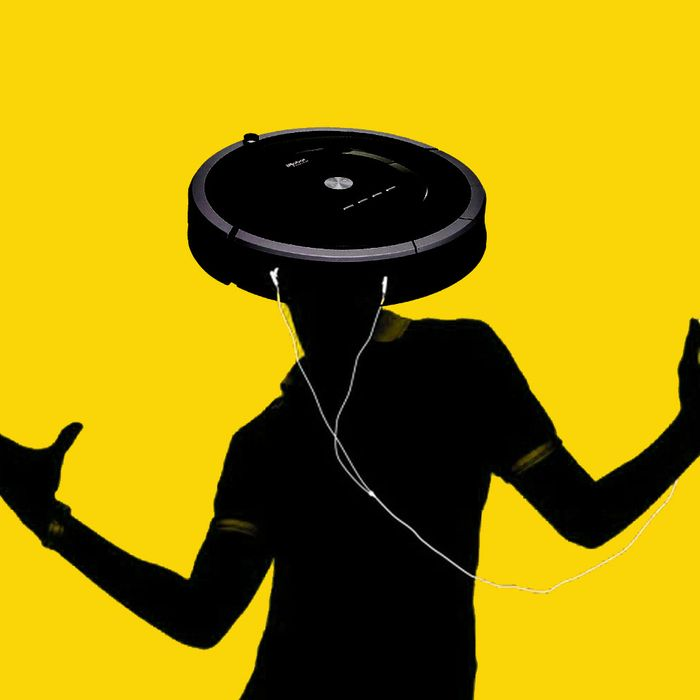 DJ Roomba is listening to an iPod.