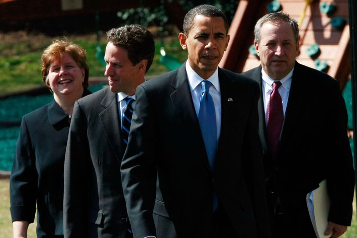 U.S. President Barack Obama walks with (L-R) Chair of the Council of Economic Advisers Christine Romer, U.S. Treasury Secretary Timothy Geithner, and Director of the White House's National Economic Council Lawrence Summers prior to speaking before departing the White House March 18, 2009 in Washington, DC. Obama spoke primarily about the growing pressure resulting from the payout of bonuses at AIG and also expressed continued confidence in Geithner's role as Treasury Secretary.