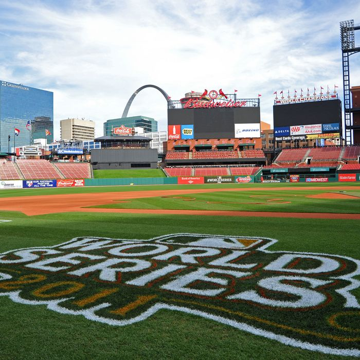 ST LOUIS, MO - OCTOBER 25: The 2011 World Series logo is seen painted on the field with the Gateway Arch in the background ahead of Game 6 of the 2011 MLB World Series between the Texas Rangers and the St. Louis Cardinals at Busch Stadium on October 25, 2011 in St Louis, Missouri. (Photo by Michael Heiman/Getty Images)