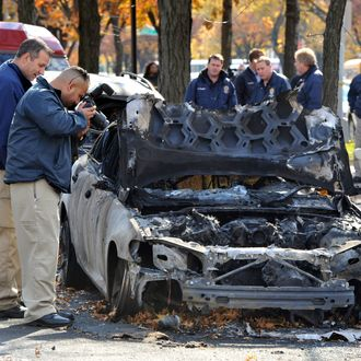 NYPD detective and NYPD hate crime unit are investigating bias attack on Ocean Parkway (between Avenues I & J) in Brooklyn. Earlier this morning, three cars were set on fire, anti-jewish slogans were spray-painted on benches, sidewalk and cars, including