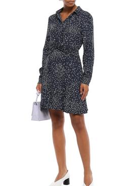 Ganni Barra Twist-front Floral-print Crepe Shirt Dress