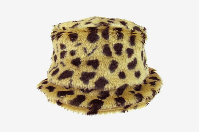 Capelli New York Allover Leopard Printed Faux Fur Bucket Hat