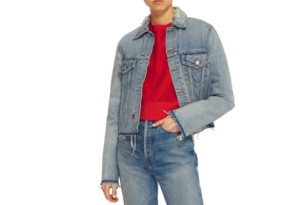 Re/Done Contrast Frayed Edge Distressed Denim Jacket