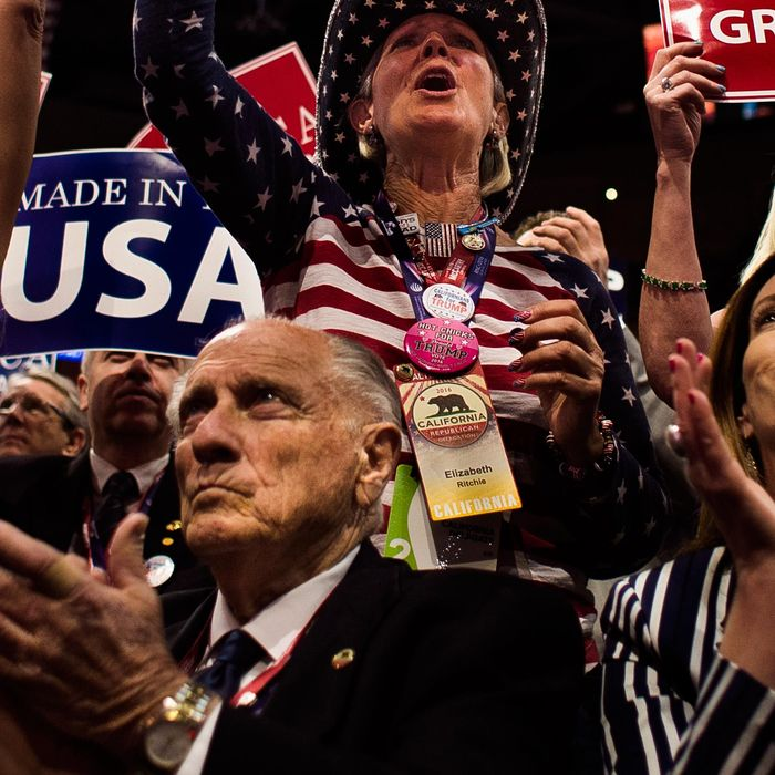 Delegates of the Republican party cheer as they listen to House Speaker Paul Ryan during the Republican National Convention on Tuesday.