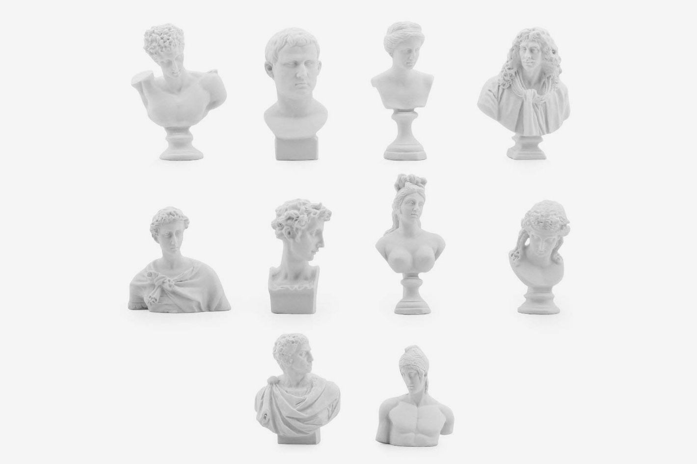 Owfeel Plaster Bust Statues (Set of 10)