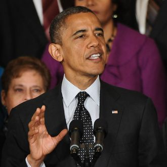 US President Barack Obama speaks on the economy in the East Room of the White House in Washington on November 9, 2012. Obama made his first post-election intervention in a brewing year-end budget and spending crisis, laying out his position in a televised statement ahead of intense bargaining with Republicans.