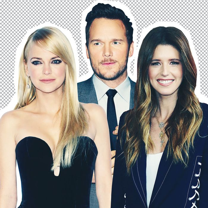 Anna Faris, Chris Pratt, and Katherine Schwarzenegger.