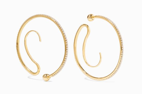 Panconesi Upside-Down Convertible Gold-Plated Crystal Hoop Earrings