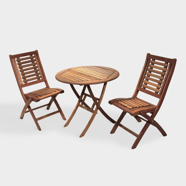 Round Wood Bistro 3 Piece Folding Outdoor Dining Set