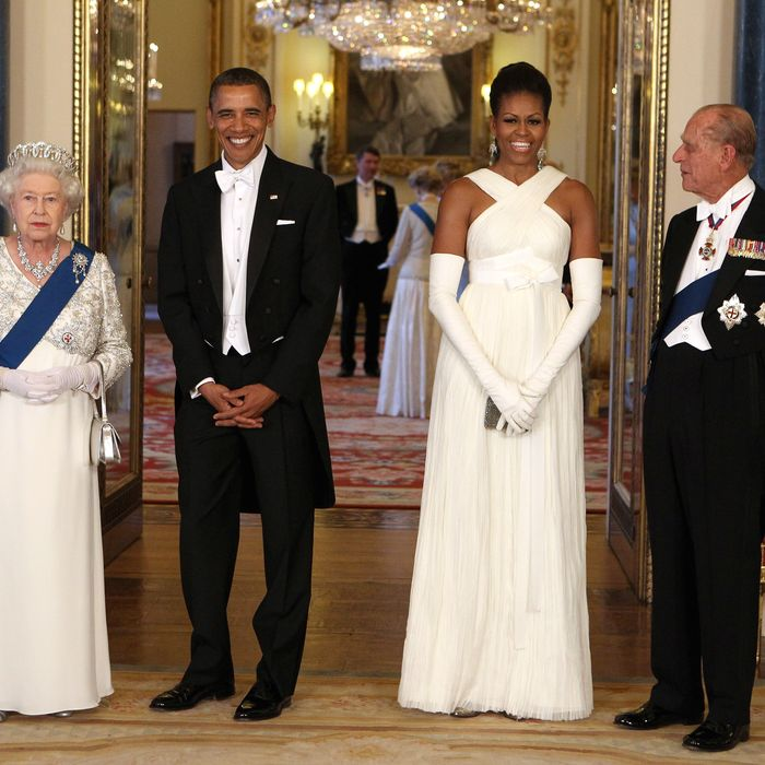 The Obamas with the Queen and Prince Philip.