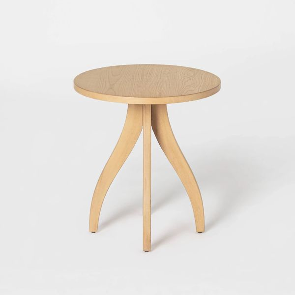 Threshold designed with Studio McGee Surfside Round Wood Accent Table with Curved Legs