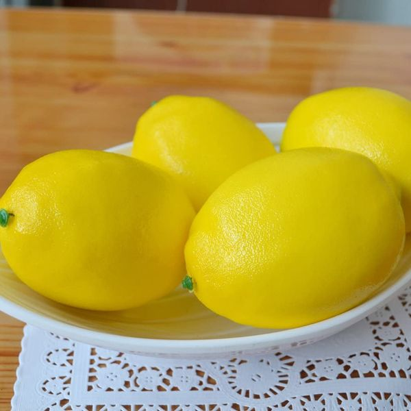 JEDFORE Artificial Yellow Lemons, Set of 10