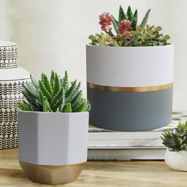 Exquis Home 6.5-inch White Ceramic Plant Containers With Gold and Grey Detailing (Set of 2)