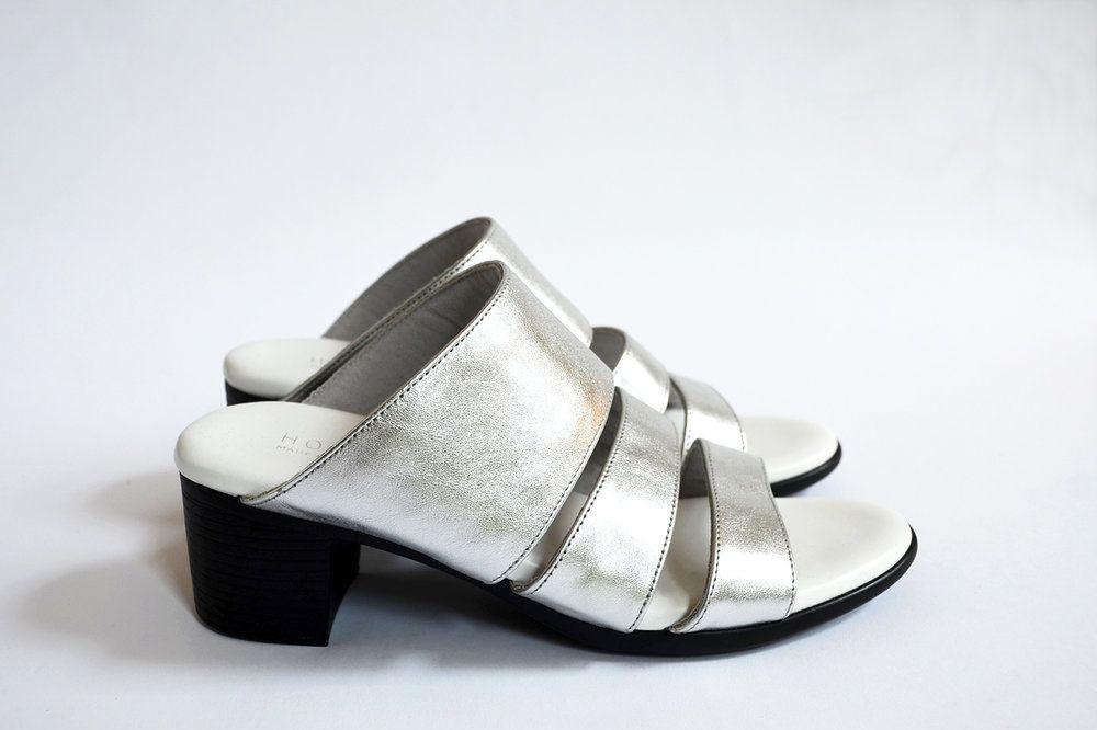 Three-Strap Sandal — Metallic Silver