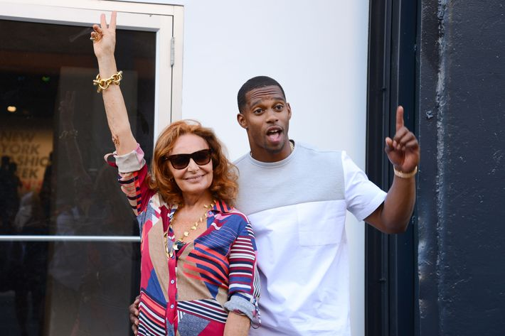 Diane von Furstenberg and Victor Cruz.