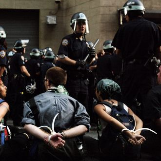 Protesters are arrested at Union Square as hundreds were taken away after they attemped to march without a permit August 31, 2004 in New York City on the second day of the Republican National Convention.