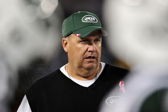 BALTIMORE, MD - OCTOBER 2: Head coach Rex Ryan of the New York Jets walks the sidelines against the Baltimore Ravens at M&T Bank Stadium on October 2, 2011 in Baltimore, Maryland. (Photo by Patrick Smith/Getty Images)