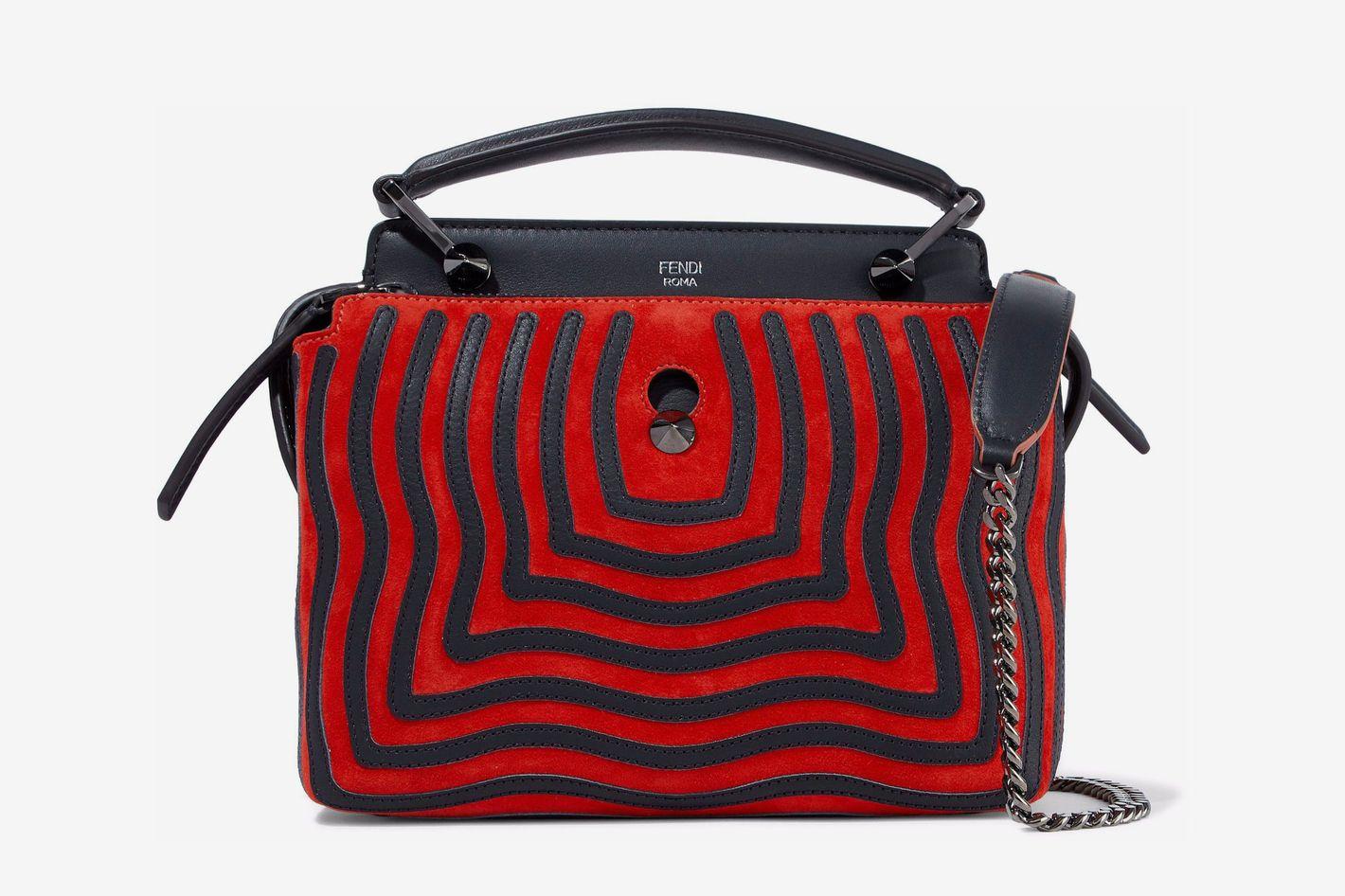 Fendi Dotcom Leather-Appliquéd Suede Shoulder Bag