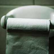 Patterned Toilet Paper on Holder