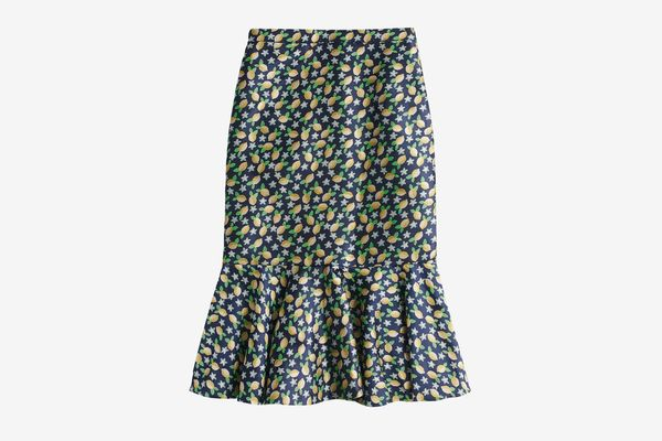 Trumpet skirt in lemon jacquard
