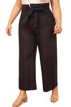 Reformation Jackie Belted High Waist Crop Linen Pants Plus Size