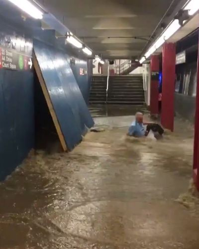 Subway Station Turns Into (Incredibly Dangerous) Water Park Just in Time for Heat Wave