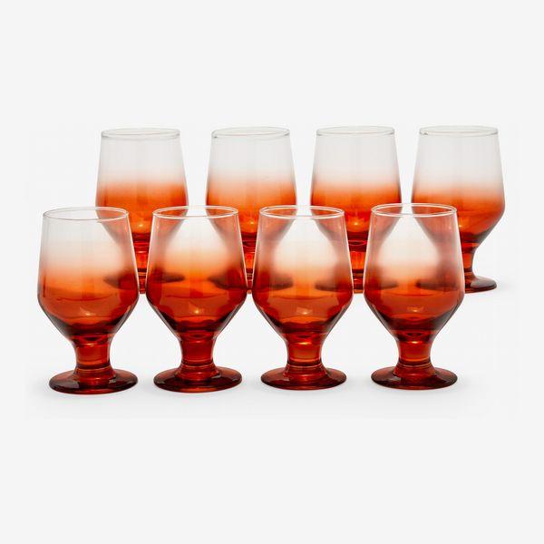 Drew Barrymore Flower Home Incandescent Orange Ombre Glass Drinkware Set