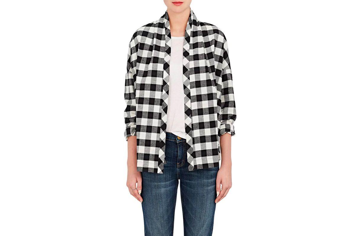 6397 Checked Cotton Twill Cardigan