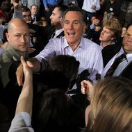 DAYTON, OH - MARCH 03:  Republican presidential candidate, former Massachusetts Gov. Mitt Romney greets supporters during a campaign rally at US Aeroteam on March 3, 2012 in Dayton, Ohio. Mitt Romney is campaigning in Ohio ahead of Super Tuesday.  (Photo by Justin Sullivan/Getty Images)