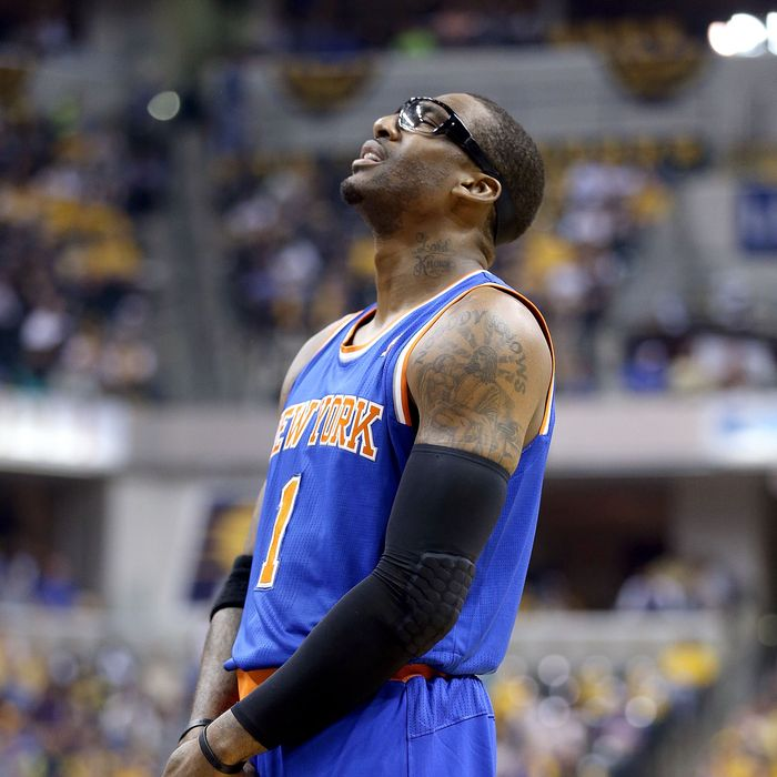 INDIANAPOLIS, IN - MAY 14: Amare Stoudemire #1 of the New York Knicks liiks upward after being called for a foul in the game against the Indiana Pacers during Game Four of the Eastern Conference Semifinals of the 2013 NBA Playoffs at Bankers Life Fieldhouse on May 14, 2013 in Indianapolis, Indiana. NOTE TO USER: User expressly acknowledges and agrees that, by downloading and or using this photograph, User is consenting to the terms and conditions of the Getty Images License Agreement. (Photo by Andy Lyons/Getty Images)
