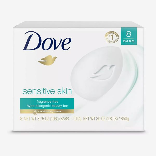 Dove Sensitive Skin Unscented Beauty Bar Soap, 8-Count