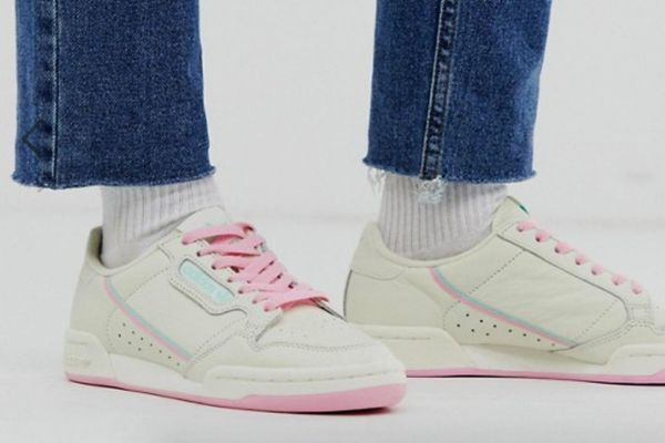 adidas Originals Continental 80 Sneakers in Off White and Mint Green
