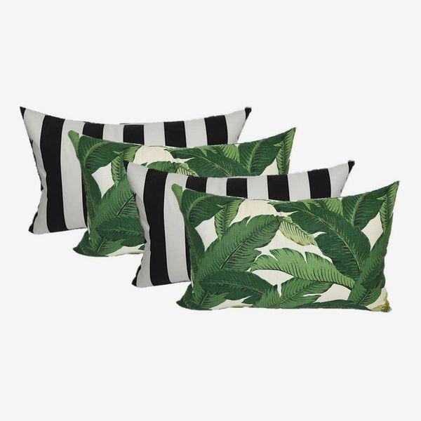 Resort Spa Home Decor Set of 4 Indoor/Outdoor Lumbar Pillows