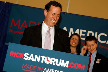 Republican presidential candidate, former U.S. Sen. Rick Santorum addresses supporters after winning the both Alabama and Mississippi primaries on March 13, 2012 in Lafayette, Louisiana. Louisiana's primary will be decided on March 24th.