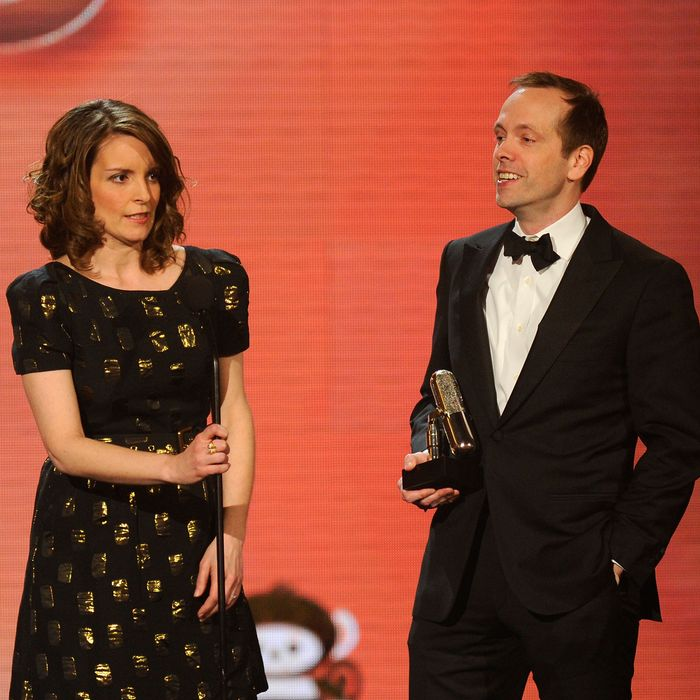 Actress Tina Fey and Producer Robert Carlock onstage at the First Annual Comedy Awards at Hammerstein Ballroom on March 26, 2011 in New York City.
