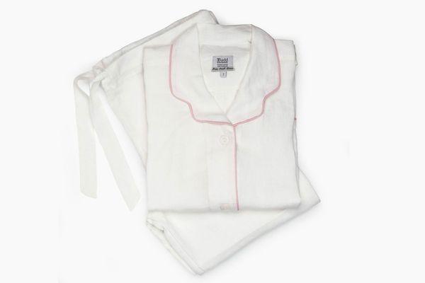 Budd London Plain Linen Pajamas, White and Pink