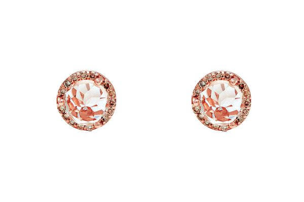 Peach-morganite-and-champagne-diamond earrings in rose gold