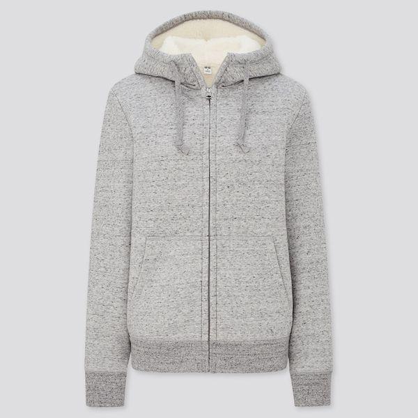 Uniqlo Women Pile-Lined Sweatshirt Long-Sleeved Full-Zip Hoodie