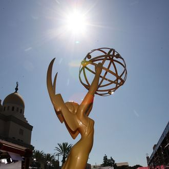 LOS ANGELES, CA - SEPTEMBER 16: A view of the Emmy Award statue during the arrivals at the 59th Annual Primetime Emmy Awards at the Shrine Auditorium on September 16, 2007 in Los Angeles, California. (Photo by Frazer Harrison/Getty Images)