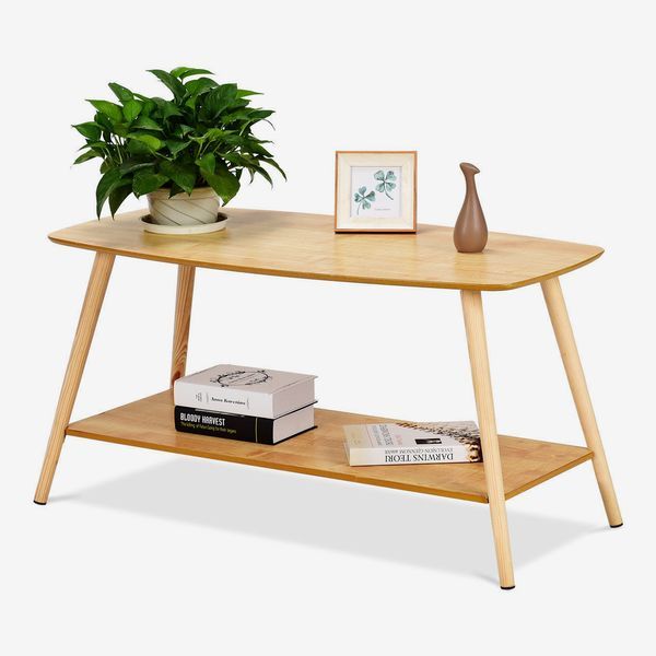 Goplus coffee table, multi purpose, burlywood