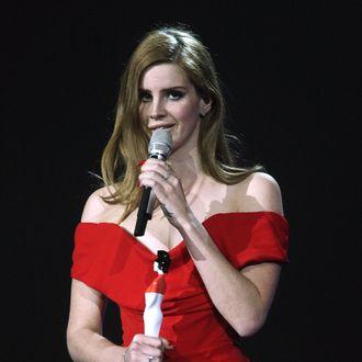 Lana Del Rey accepts her Best International Breakthrough Artist Award at The Brit Awards 2012