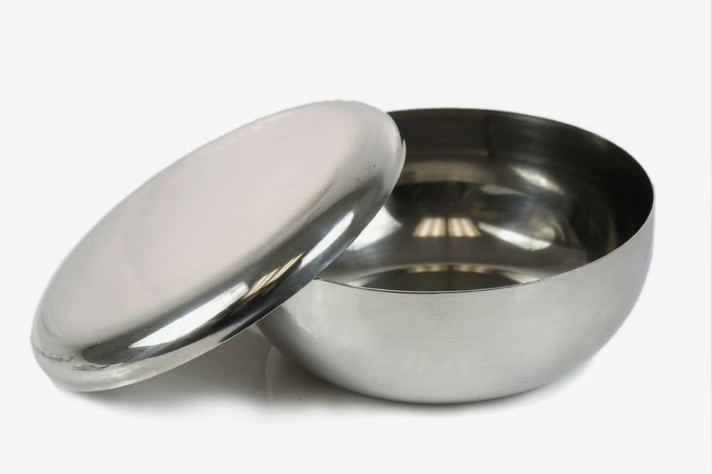 Korean Stainless Steel Rice Bowls and Lids, Set of 4