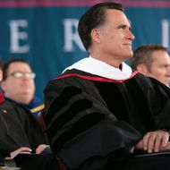 LYNCHBURG, VA - MAY 12: Republican presidential candidate and former Massachusetts Gov. Mitt Romney attends commencement ceremonies as the scheduled commencement speaker at Arthur L. Williams Stadium on the campus of Liberty University on May 12, 2012 in Lynchburg, Virginia. Liberty University is one of the country's largest Christian colleges.  (Photo by Jared Soares/Getty Images)